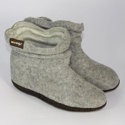 Damen Filzhausschuhe Wolle grau2