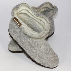 Damen Filzhausschuhe Wolle grau