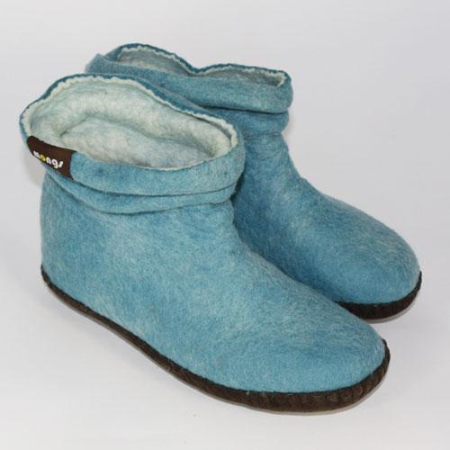 Damen Filzpuschen Wolle blau3
