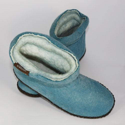 Damen Filzpuschen Wolle blau