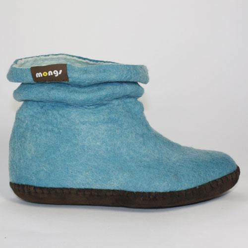 Damen Filzpuschen Wolle blau2