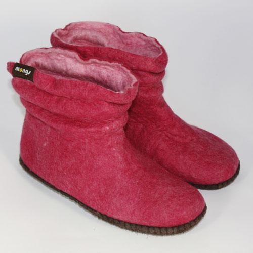 Damenhausschuh filz pink2