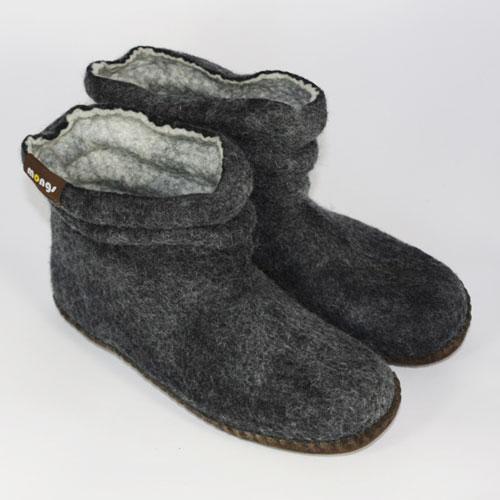Damen Filzpantoffeln Wolle schwarz2