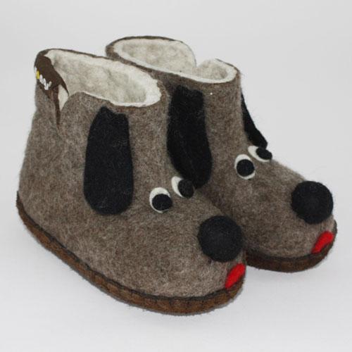 Kinder Filzhausschuh Hund
