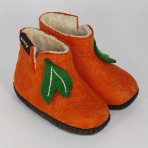 Kinder Filzhausschuhe aus Merino Wolle orange