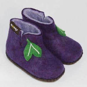 Kinderfilzpuschen handgefertigt lila2