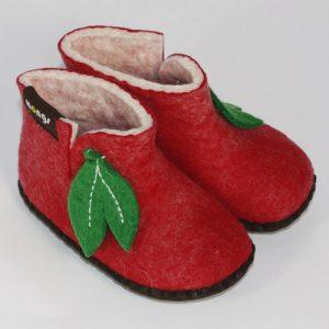 Babypantoffeln aus Filz rot