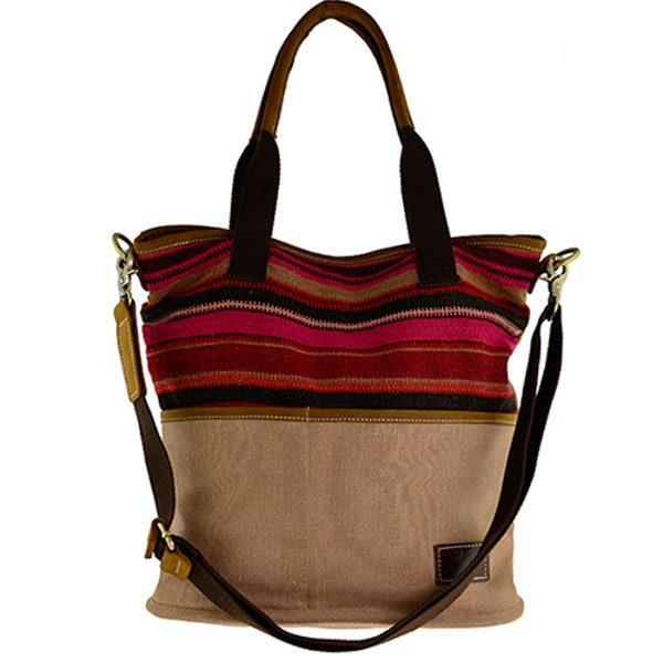Handtasche braun mit persichem Kelim