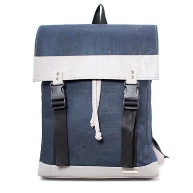 Korkrucksack blau weiß