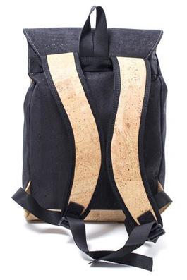 Korkrucksack schwarz beige von hinten