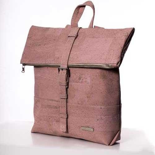 Damenrucksack aus Kork rosa