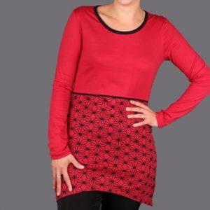 rotes Kleid aus Biobaumwolle gemustert