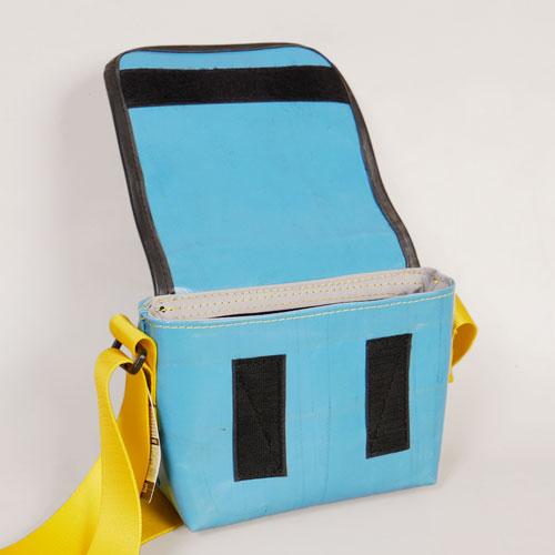 recycling tasche blaugelb offen